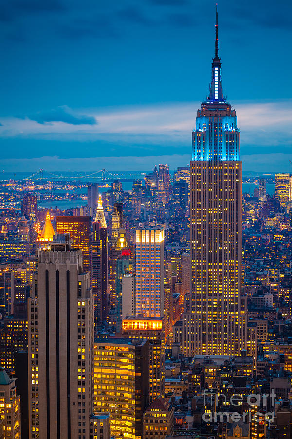 Empire State Blue Night Photograph  - Empire State Blue Night Fine Art Print