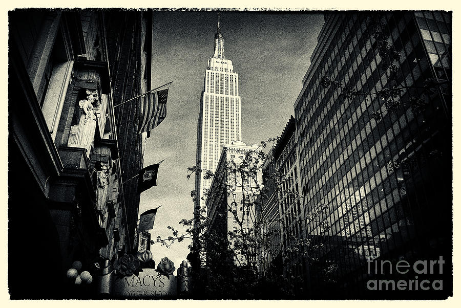 Empire State Building And Macys In New York City Photograph