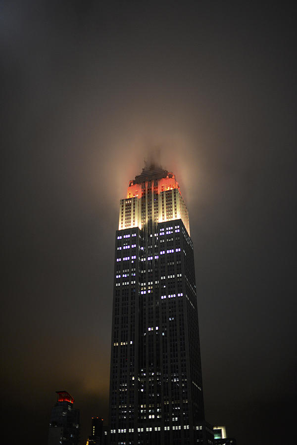 Empire State Building At Night In Fog Photograph by Scott ...
