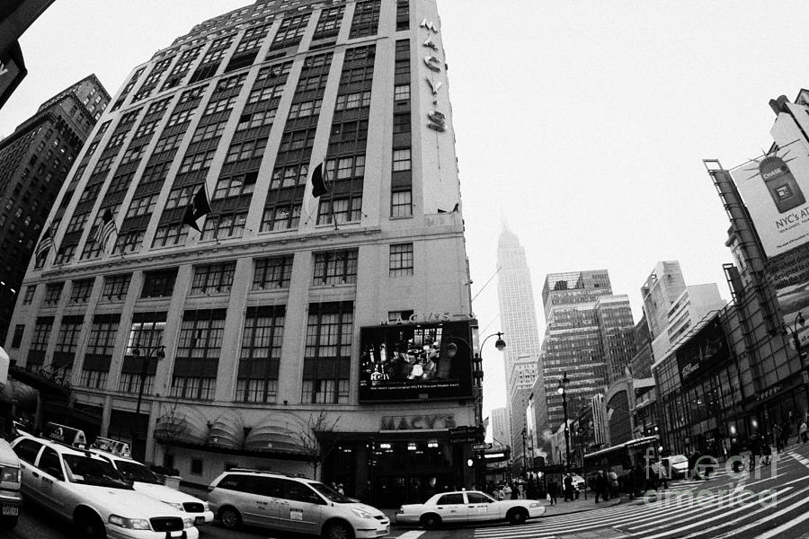 Empire State Building Shrouded In Mist As Yellow Cabs Crossing Crosswalk On 7th Ave And 34th Street Photograph