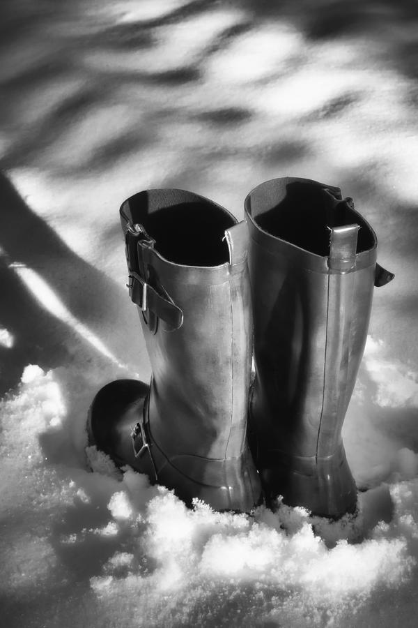 Boots In Snow Photograph