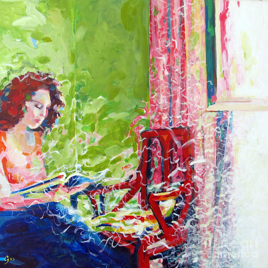 Reading Painting - Empty Chair by Gilat Gur-arie greenberg