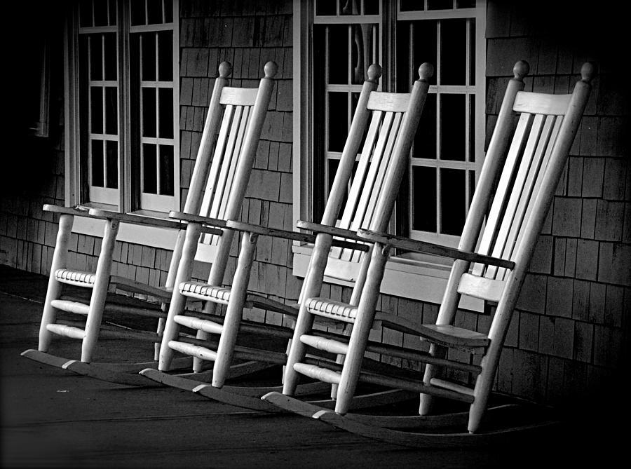 Black & White Photograph - .empty Chairs. by Lynn E Harvey