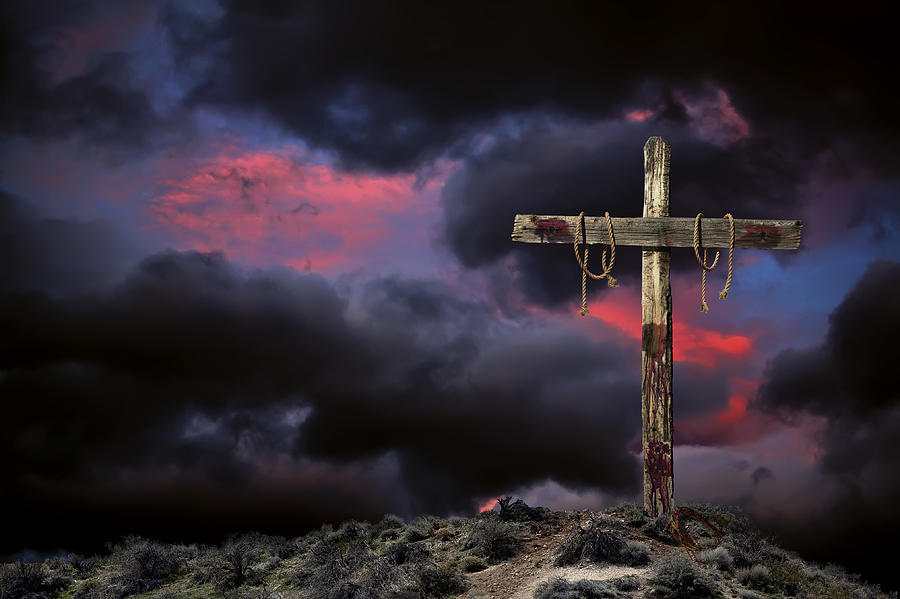 Empty Cross Against An Angry Sky Photograph by Russell Shively Empty Cross Painting