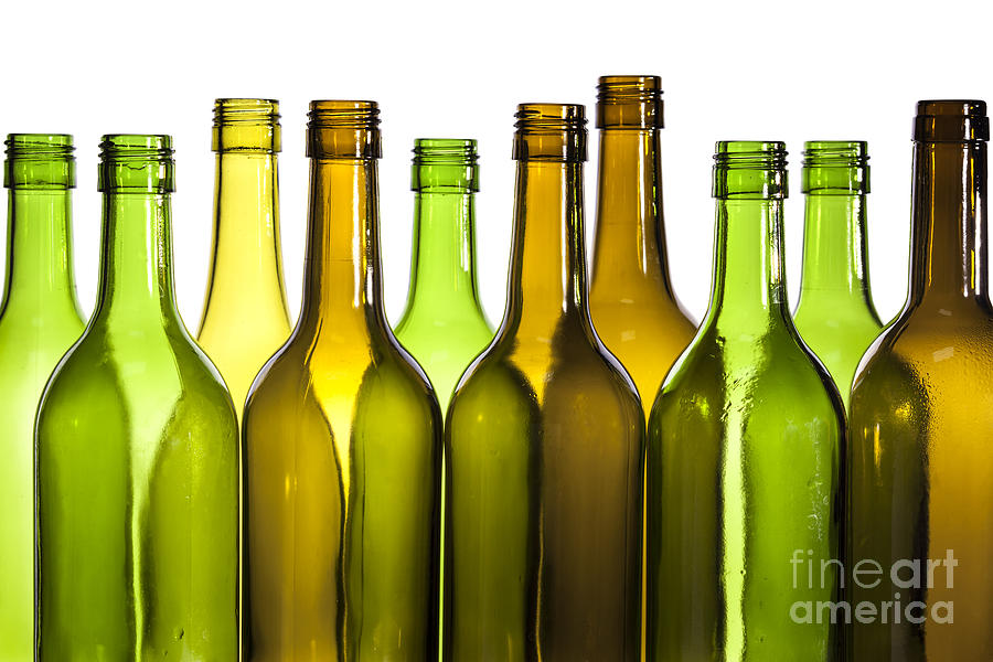 Empty Glass Wine Bottles Photograph