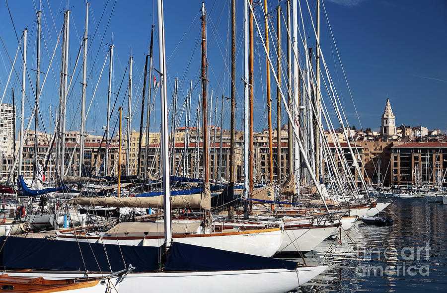 Empty Masts In Vieux Port Photograph