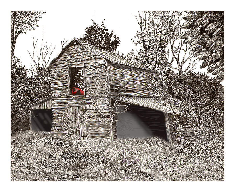 Selective Coloring Art Drawing - Empty Old Barn by Jack Pumphrey
