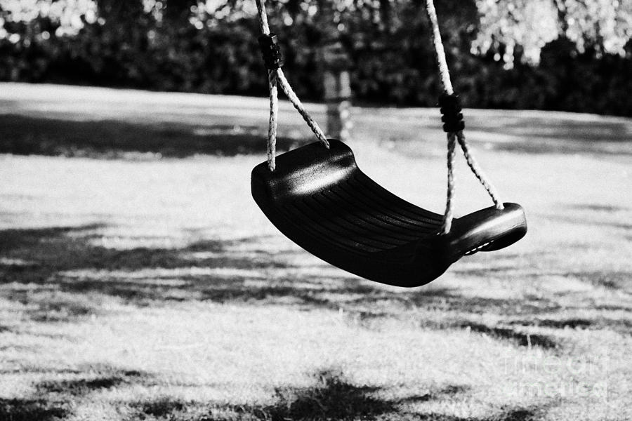 Empty Plastic Swing Swinging In A Garden In The Evening Photograph