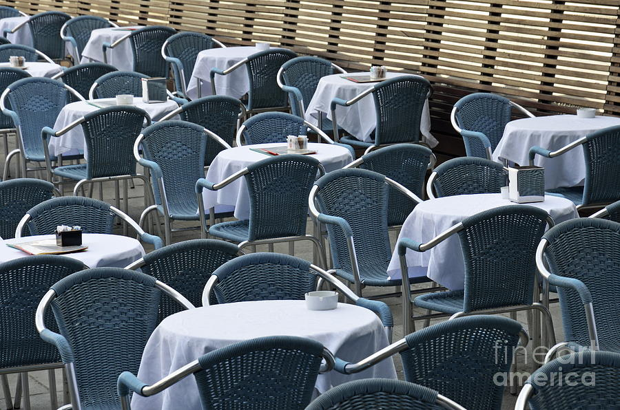 Empty Restaurant Seats And Tables Photograph  - Empty Restaurant Seats And Tables Fine Art Print