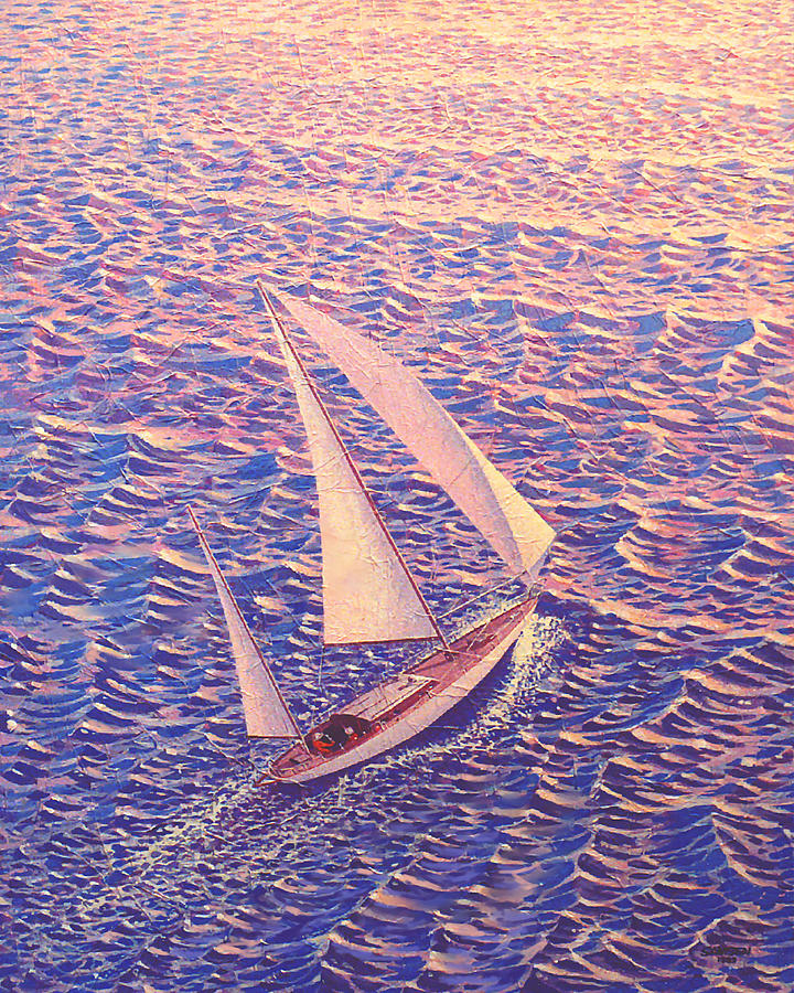 Enchanted Passage  Sailboat Sailing On Ocean At Sunset Picture  Painting  - Enchanted Passage  Sailboat Sailing On Ocean At Sunset Picture  Fine Art Print