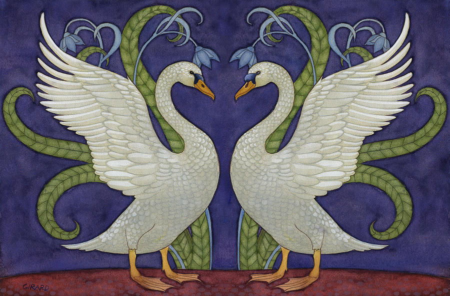 Enchanted Swans Painting  - Enchanted Swans Fine Art Print