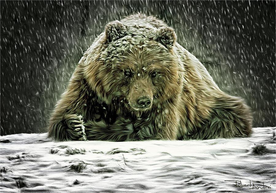 Bear Digital Art - Enduring The Blizzard by Robert Andrei