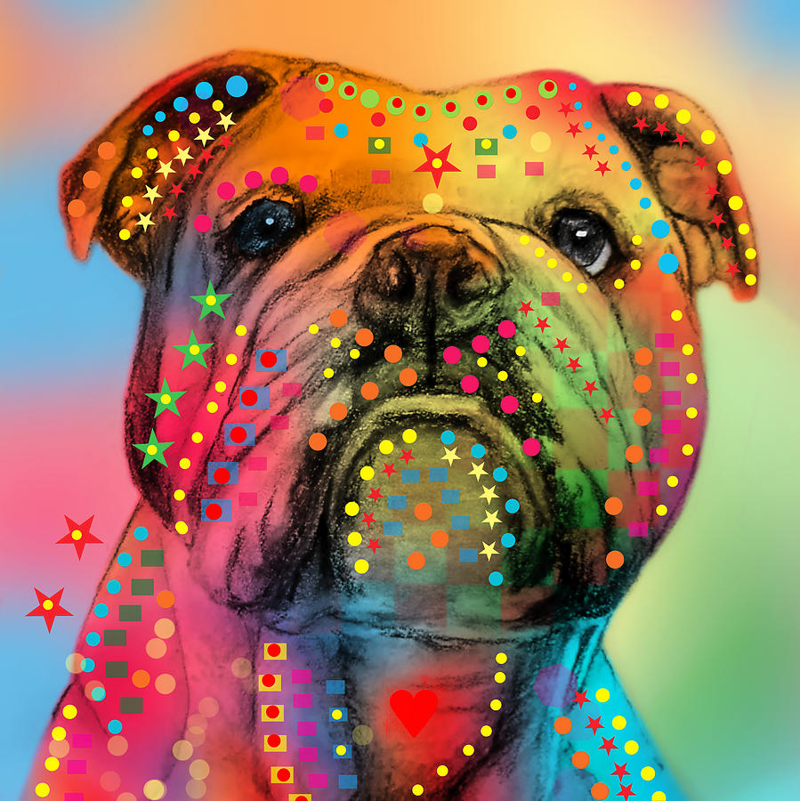 English Bulldog Digital Art  - English Bulldog Fine Art Print