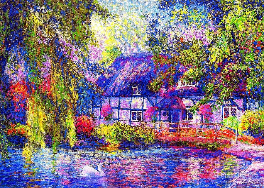 English Cottage Painting  - English Cottage Fine Art Print