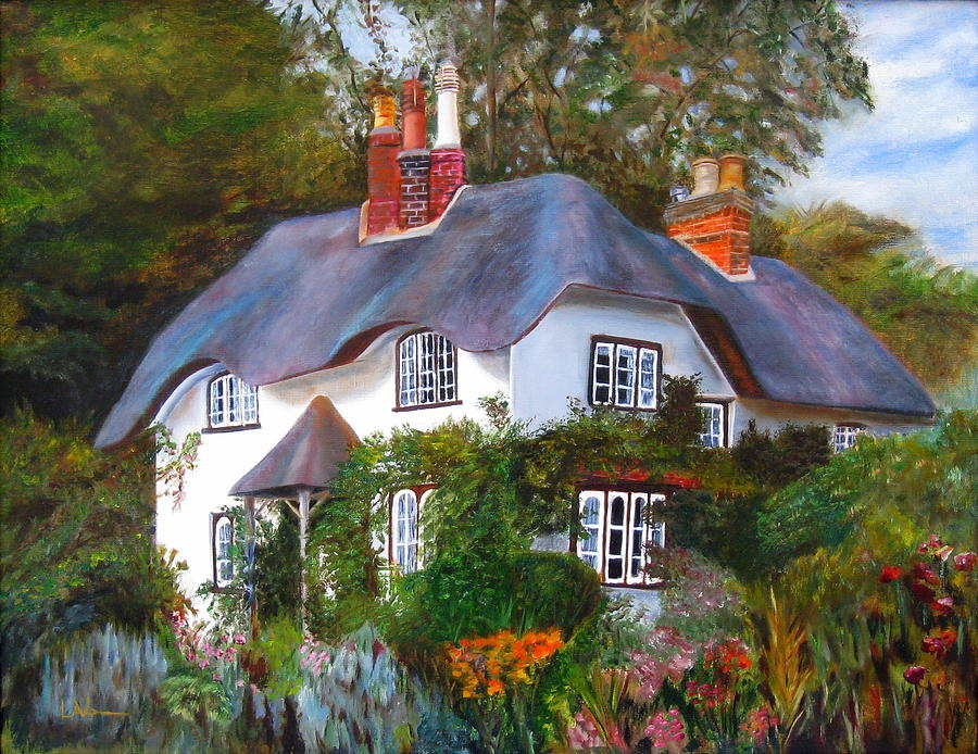 English Cottage Painting - English Cottage by LaVonne Hand
