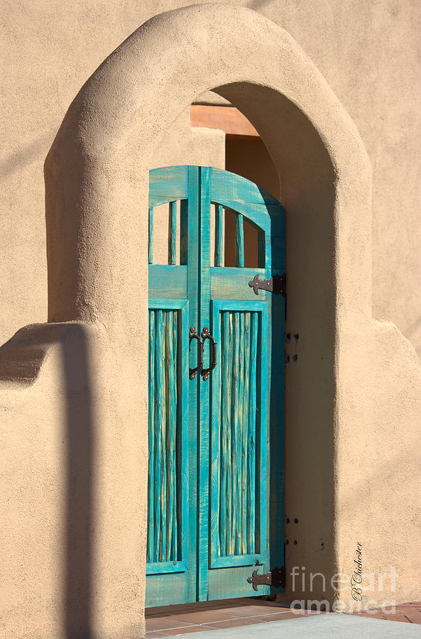 Turquoise Wood Door Photograph - Enter Turquoise by Barbara Chichester