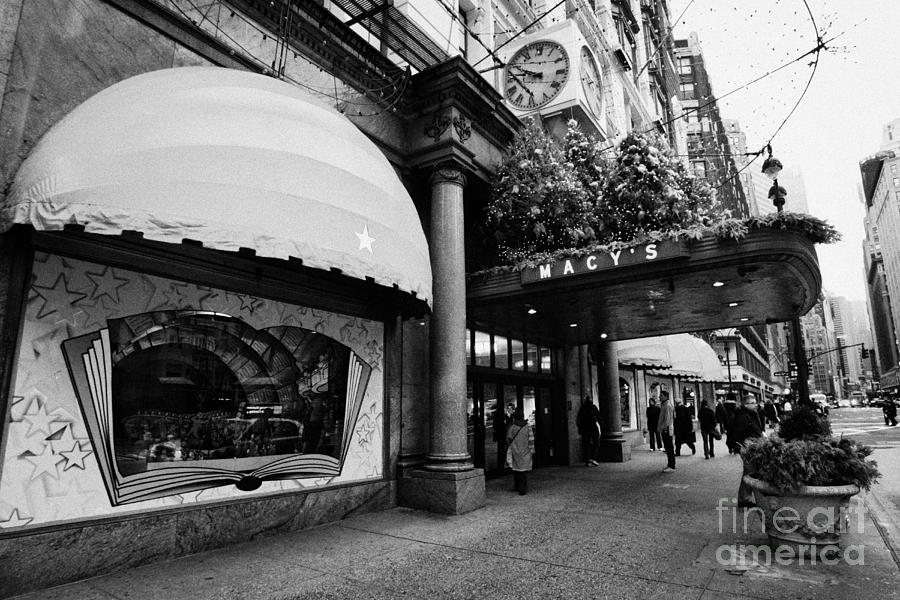 entrance to Macys department store on Broadway and 34th street at Herald square christmas Photograph  - entrance to Macys department store on Broadway and 34th street at Herald square christmas Fine Art Print