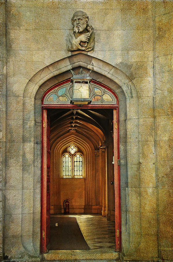 Entrance To The Gothic Revival Chapel. Streets Of Dublin. Painting Collection Photograph  - Entrance To The Gothic Revival Chapel. Streets Of Dublin. Painting Collection Fine Art Print