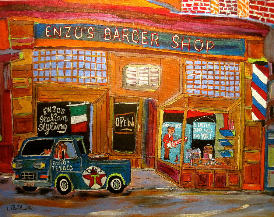 Enzo's Barber Shop Painting - Enzos Barber Shop by Michael Litvack