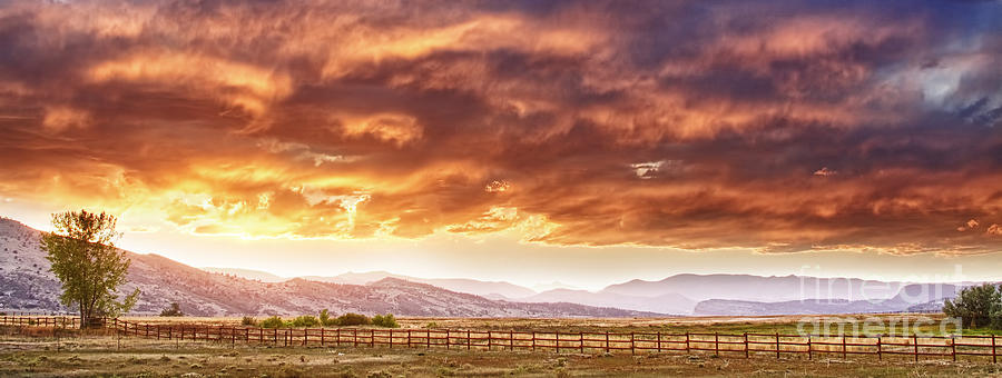 Epic Colorado Country Sunset Landscape Panorama Photograph