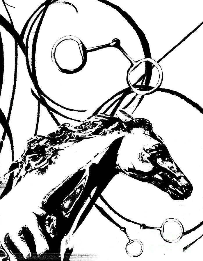 Equestrian Abstract Ribbons Mixed Media