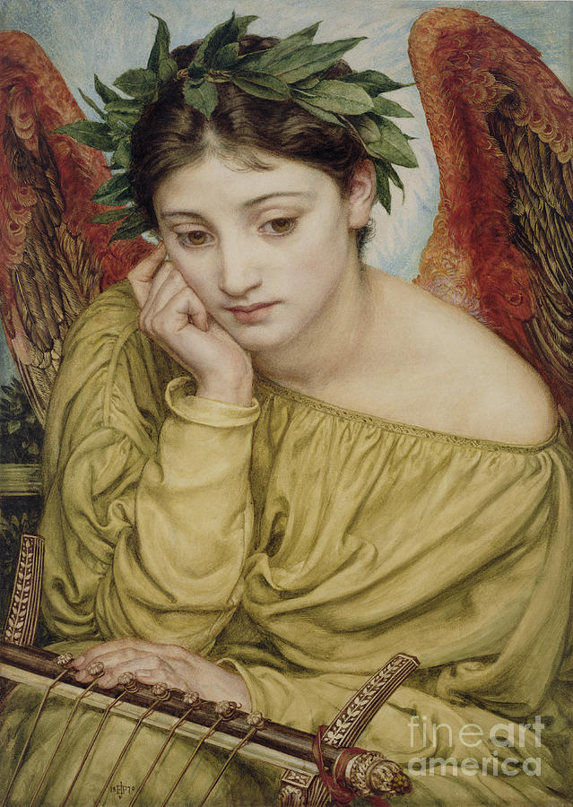 Erato Muse Of Poetry 1870 Painting  - Erato Muse Of Poetry 1870 Fine Art Print