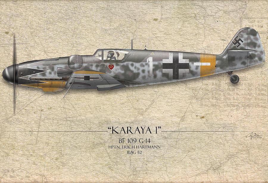 Erich Hartmann Messerschmitt Bf-109 - Map Background Painting