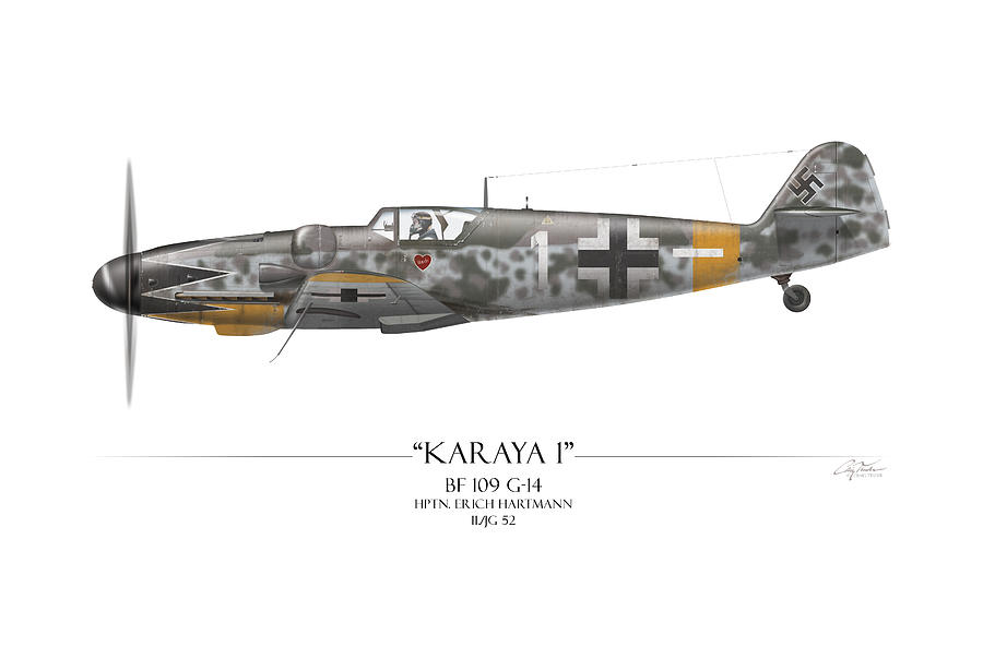 Erich Hartmann Messerschmitt Bf-109 - White Background Painting  - Erich Hartmann Messerschmitt Bf-109 - White Background Fine Art Print