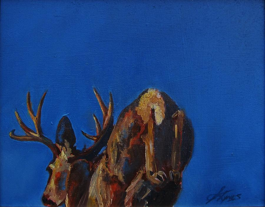Wildlife Deer Buck Nature Painting - Escape by Suzanne Tynes