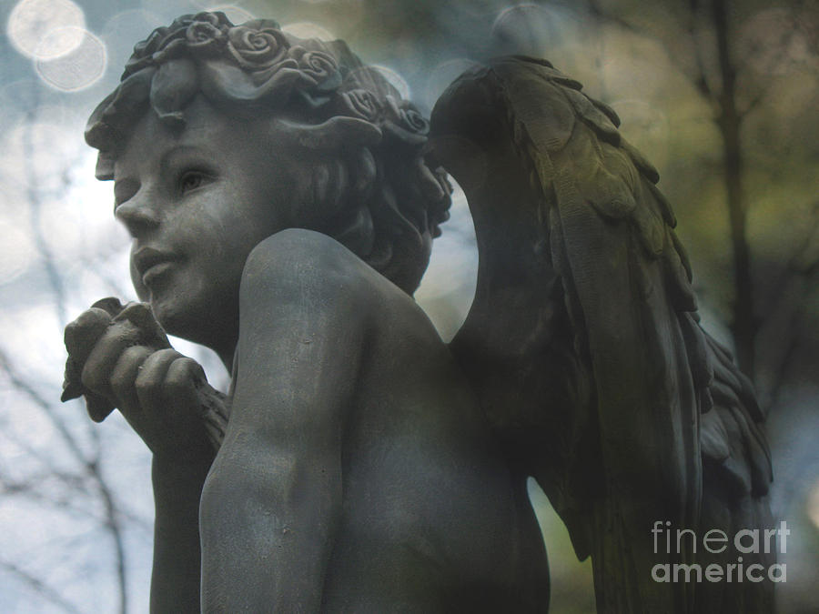 Ethereal Dreamy Child Cherub Angel With Rose Photograph  - Ethereal Dreamy Child Cherub Angel With Rose Fine Art Print
