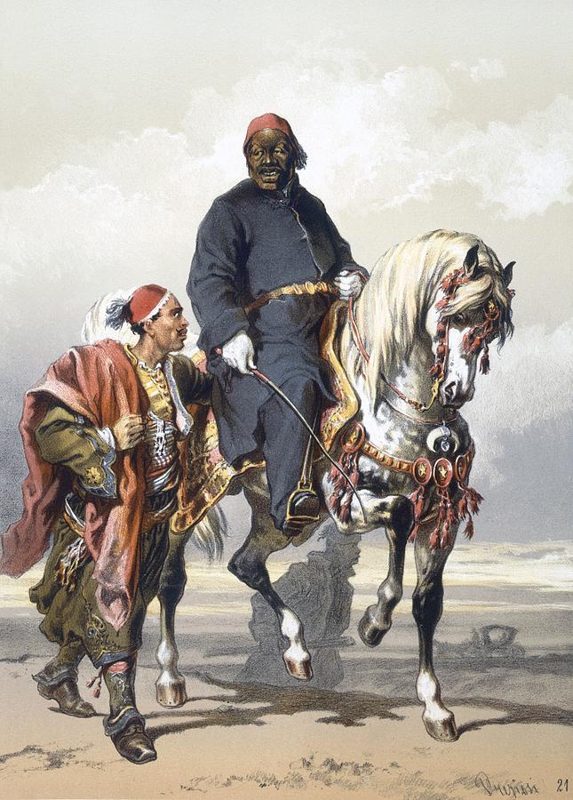 Eunuch Drawing - Eunuch Of The Seraglio On A Fine Arab by Amadeo Preziosi