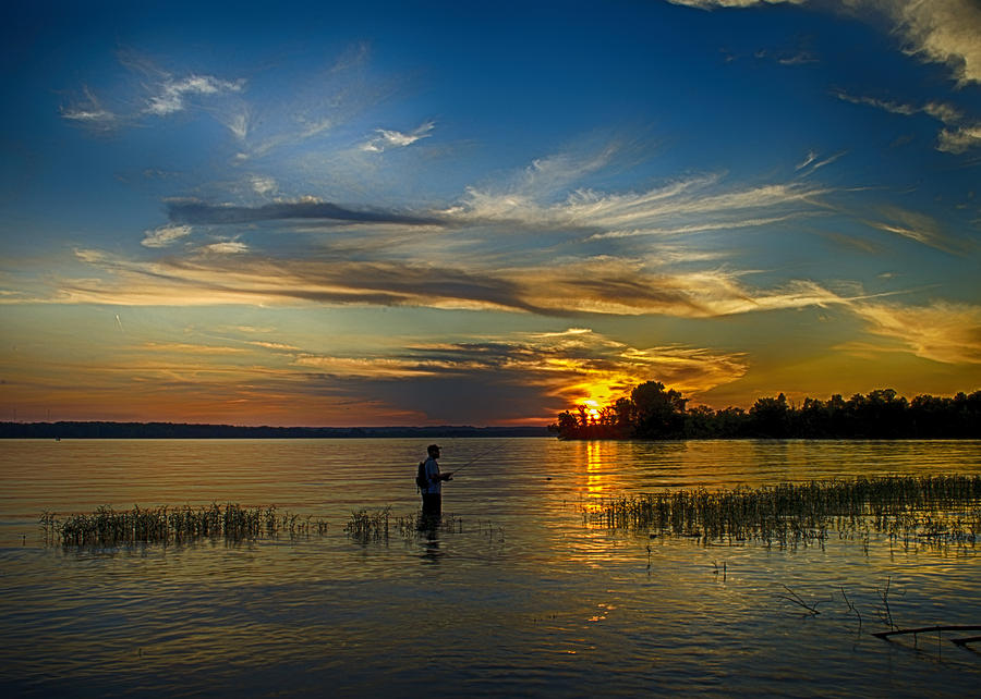 Evening Fisherman Photograph  - Evening Fisherman Fine Art Print