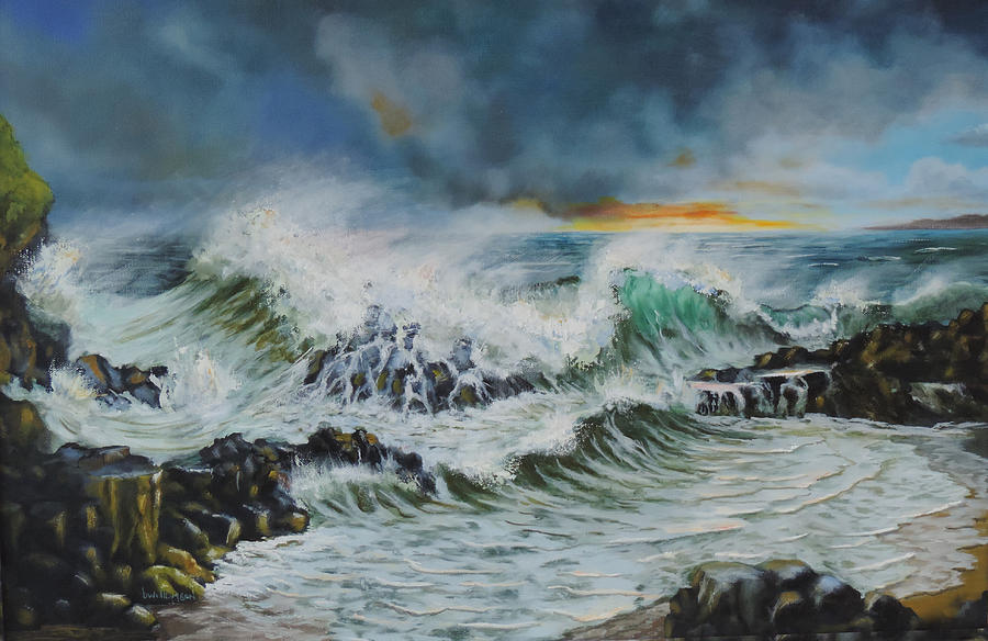 Huge Waves Breaking On Castlerock Beach In Northern Ireland Painting - Evening Surf At Castlerock by Barry Williamson