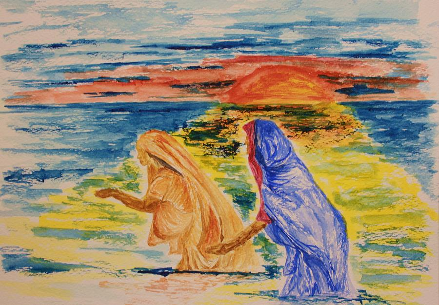 Evening Wash At The Kumbh Mela Painting
