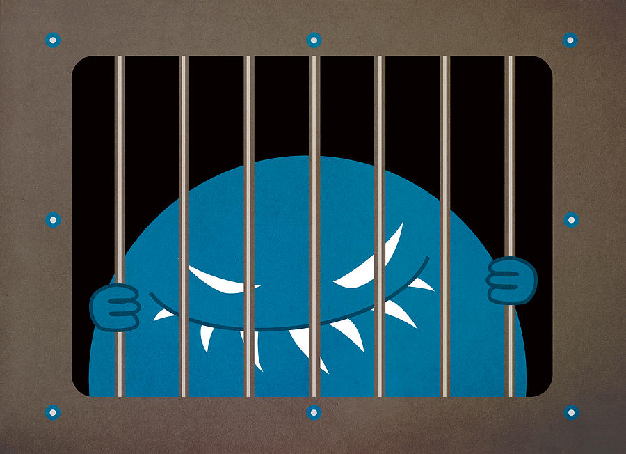 Monster Digital Art - Evil Monster Kingpin Jailed by Boriana Giormova
