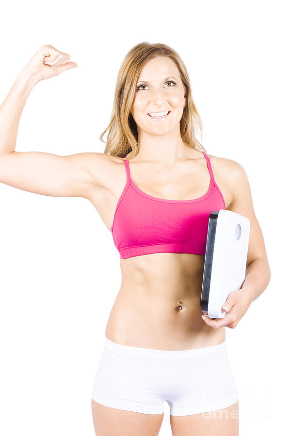 Excited Weight Loss Woman Over White Background Photograph