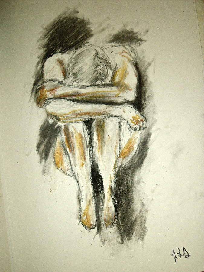 Figure Drawing Drawing - Exhaustion by Jessica Sanders