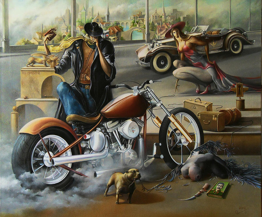Motorcycle Painting - Exorcist And The Queen by Oleg  Osipoff