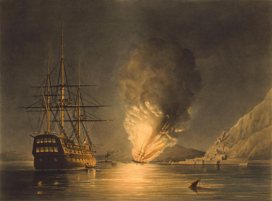 Uss Missouri Painting - Explosion Of The Uss Steam Frigate Missouri by War Is Hell Store