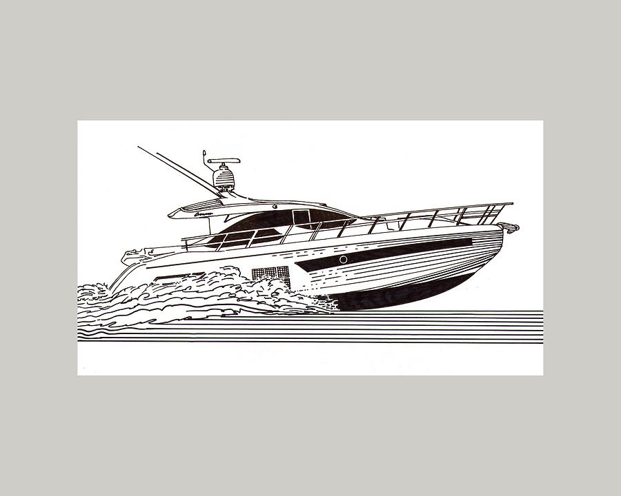 Yacht Portraits Drawing - Express Sport Yacht by Jack Pumphrey