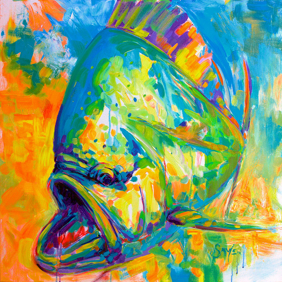 Expressionist dolphin fish painting by savlen art for Paintings of fish