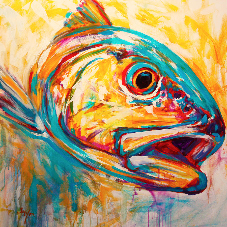 Expressionist Redfish Painting