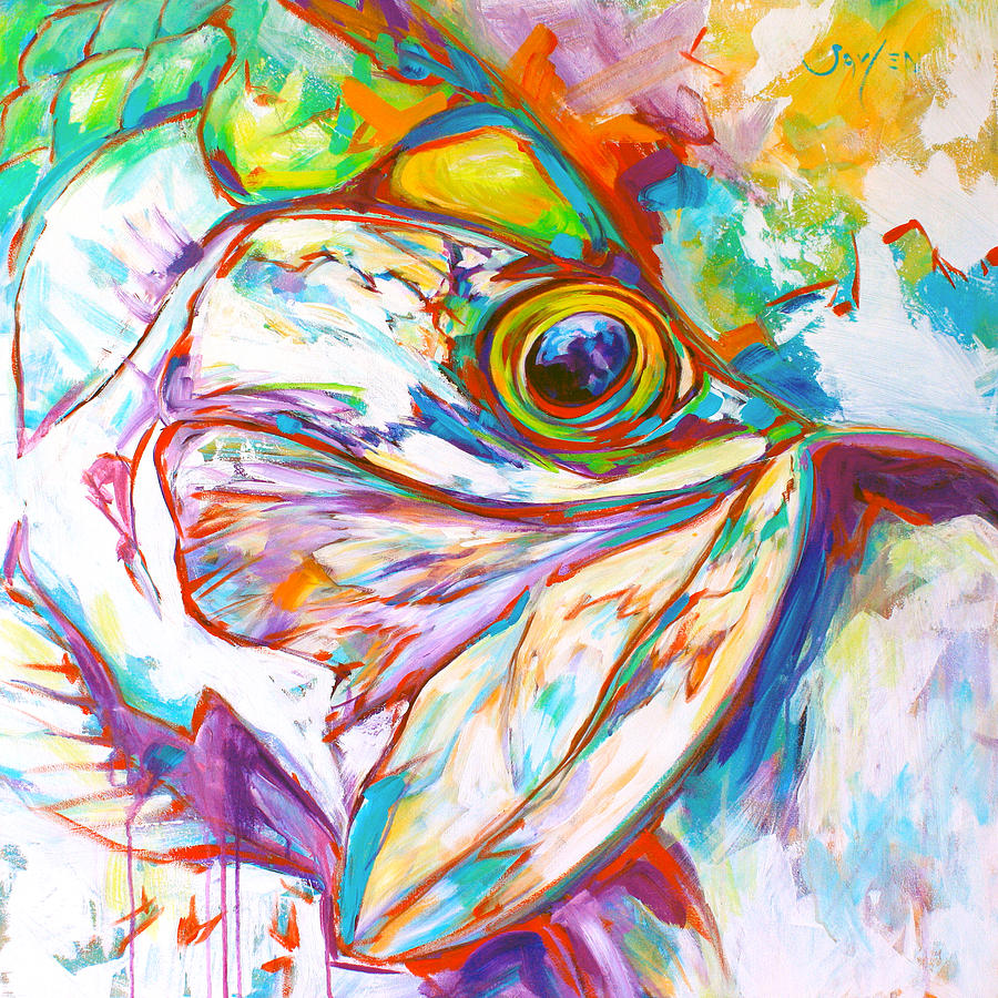 Expressionist tarpon portrait painting by savlen art for Paintings of fish