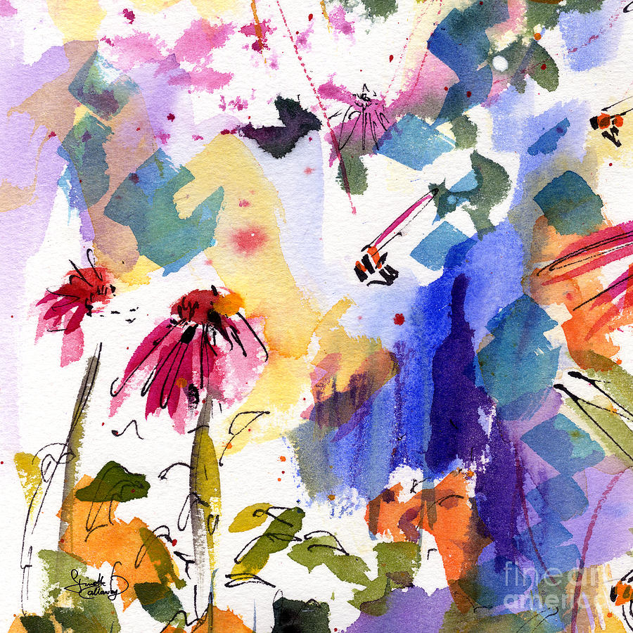 Expressive Watercolor Flowers And Bees Painting