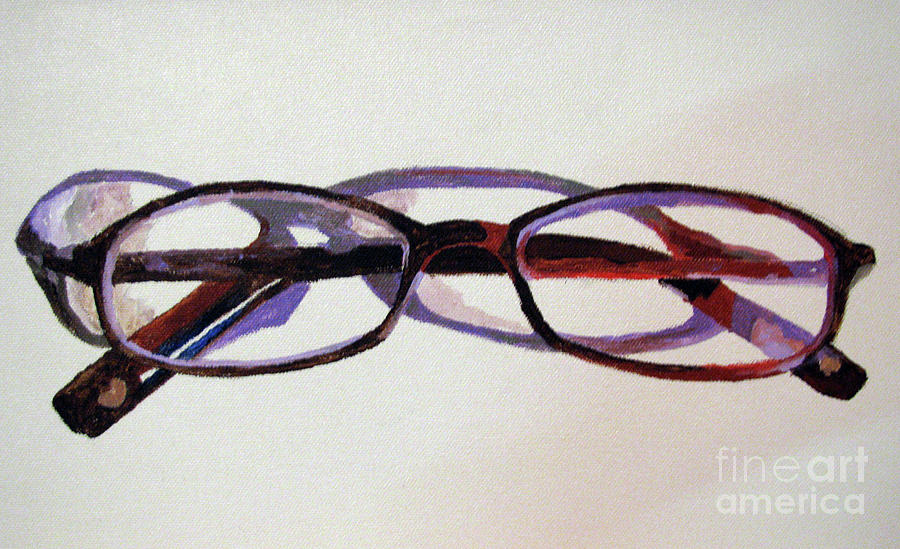 Eyeglass Frames Paint : Eye Glasses 2 Painting by Nancie Johnson