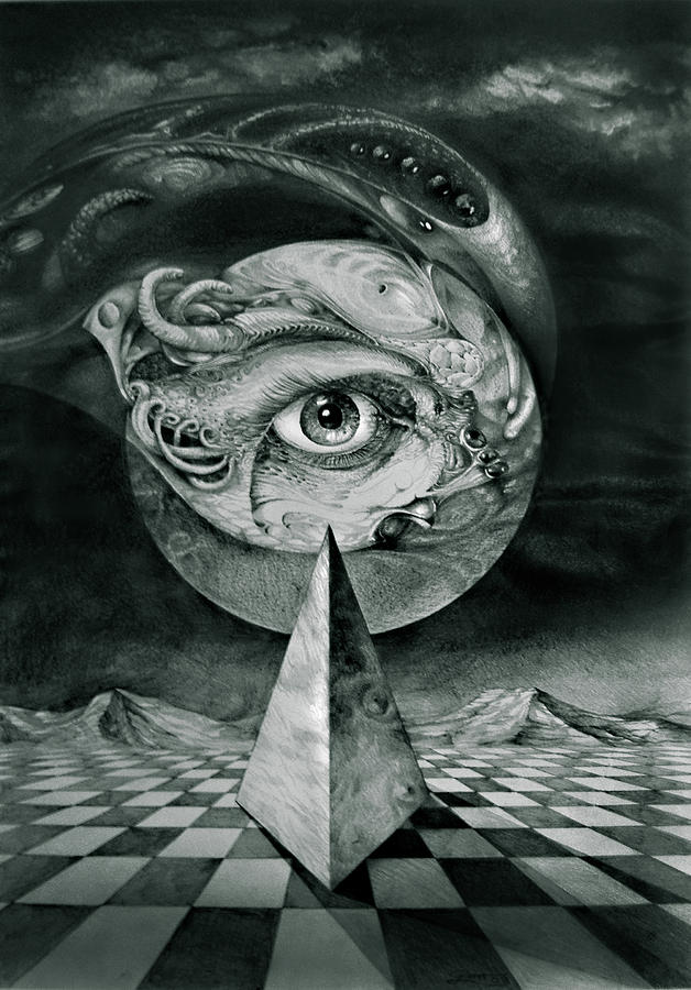 otto Rapp Surrealism Drawing - Eye Of The Dark Star by Otto Rapp