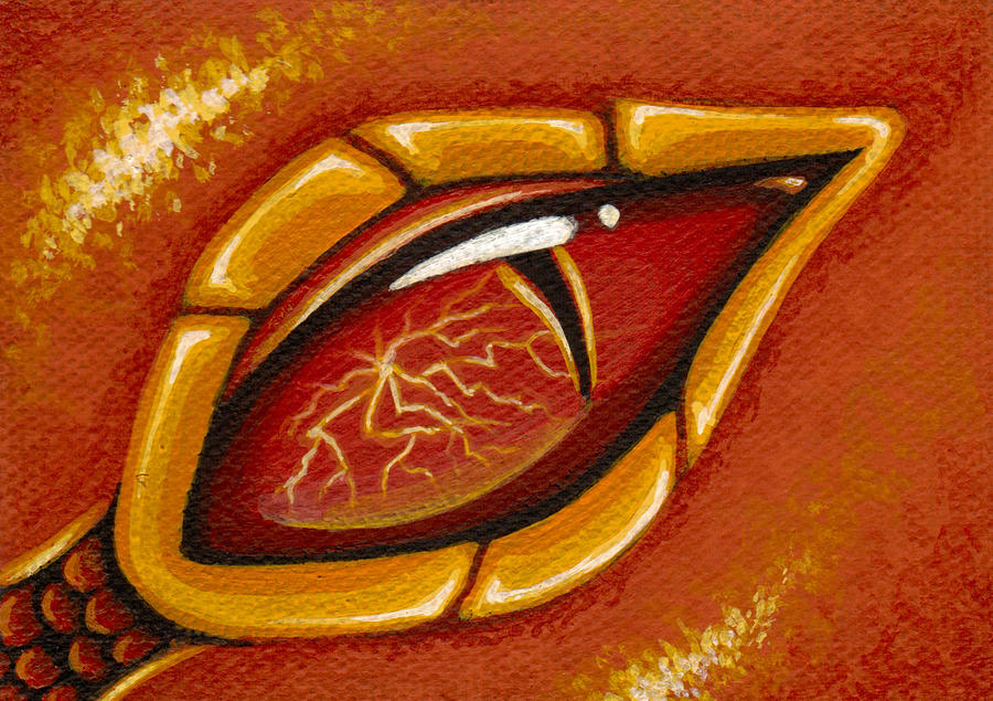 Eye Of The Fiery Lightning Dragon Painting  - Eye Of The Fiery Lightning Dragon Fine Art Print