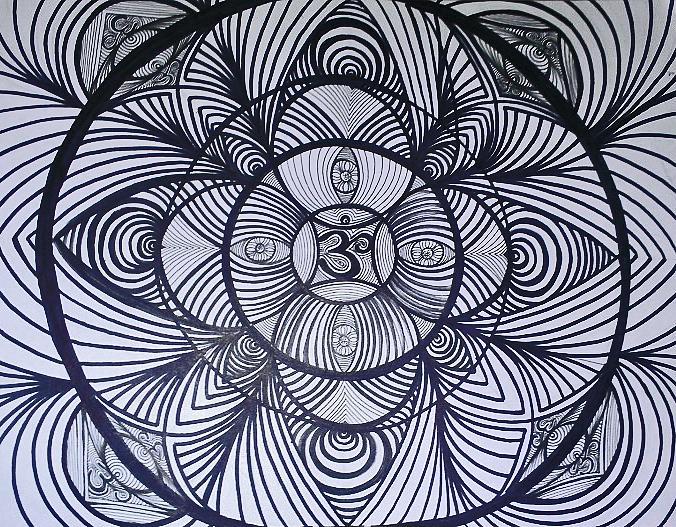 Third Eye Sky Spirit Soul Line Work Tattoo Sharpie Hippy Trippy  Drawing - Eyes Open by Sarah Yencer