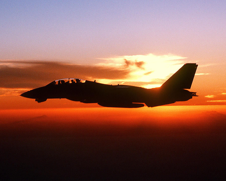 F-14a Tomcat Aircraft Is Silhouetted Against The Sun While In-fl Digital Art  - F-14a Tomcat Aircraft Is Silhouetted Against The Sun While In-fl Fine Art Print