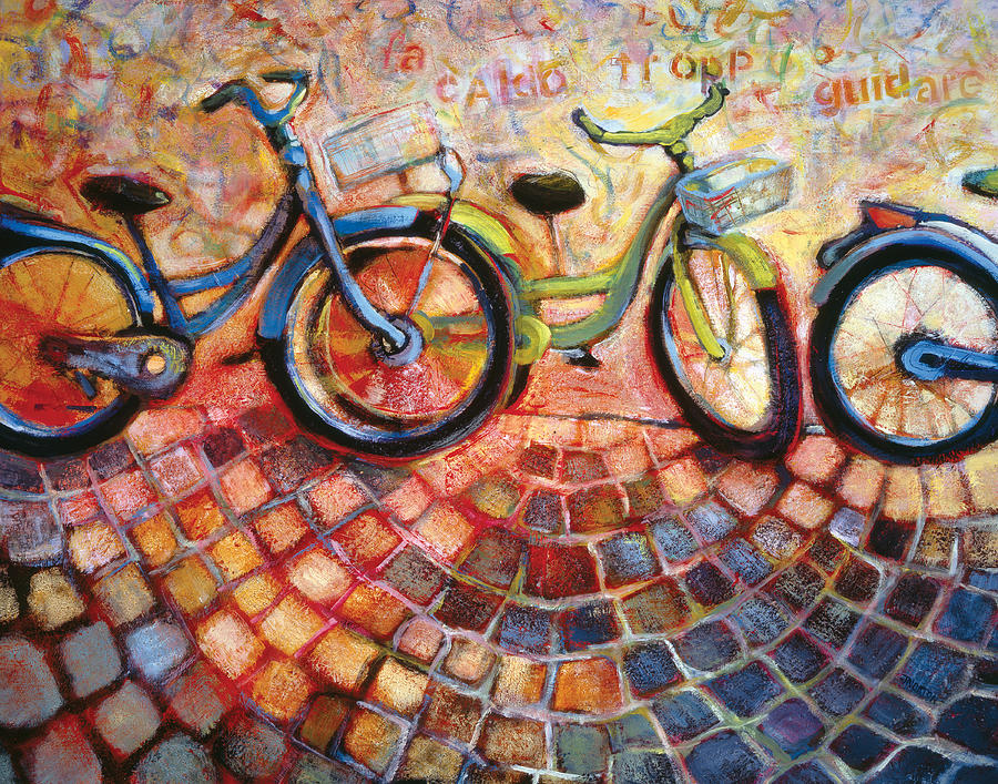 Bikes Painting - Fa Caldo Troppo Guidare by Jen Norton